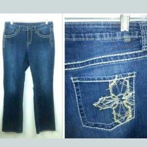 JAG Mid Rise Boot Cut Jeans Cross Rhinestone Dark
